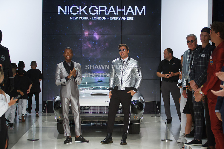 "Models walk runway in outfits from the Nick Graham Spring Summer 2019 ""1969"" collection in at Cadillac House in New York City on July 10, 2018; during New York Fashion Week: Men's Spring Summer 2019."