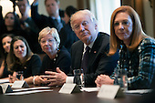 United States President Donald Trump joined by women business leaders as he and Canadian Prime Minister Justin Trudeau (not pictured) participates in a roundtable on the advancement of women entrepreneurs and business leaders, at the White House in Washington, D.C. on February 13, 2017. <br /> Credit: Kevin Dietsch / Pool via CNP