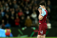 29th January 2020; London Stadium, London, England; English Premier League Football, West Ham United versus Liverpool; A dejected Declan Rice of West Ham United