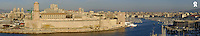 France, Marseille, panoramic view of Marseille's Vieux-Port on Mediterranean sea (Licence this image exclusively with Getty: http://www.gettyimages.com/detail/74583315 )