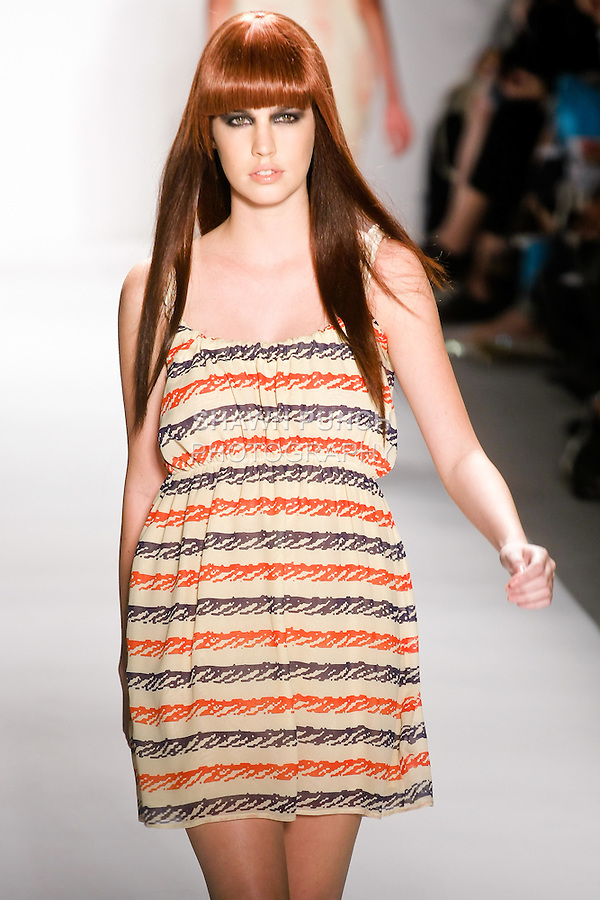 """Model walks the runway in an outfit by Paola Ivana Suhonen, for the IVANAhelsinki Spring Summer 2011 """"Where The F**k Is My Sailor"""" collection fashion show, during Mercedes-Benz Fashion Week; September 16, 2010."""