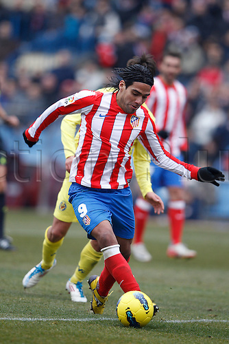 15.01.2012. Madrid, Spain. La Liga matchday 19 The match played between  At. Madrid vs Villareal (3-0)  played at the Vicente Calderon Stadium.  Picture show Radamel Falcao Garcia (Colombian striker of At. Madrid)