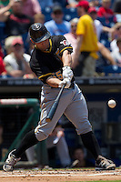 Pittsburgh Pirates  catcher Michael McKenry #55 swings during the Major League Baseball game against the Philadelphia Phillies on June 28, 2012 at Citizens Bank Park in Philadelphia, Pennsylvania. The Pirates defeated the Phillies 5-4. (Andrew Woolley/Four Seam Images).