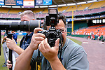 21 July 2007: Photographer Mark Goldman takes a photograph with a LensBaby prior to a game between the Colorado Rockies and the Washington Nationals at RFK Stadium in Washington, DC. The Nationals defeated the Rockies 3-0 in the third game of their 4-game series...Mandatory Photo Credit: Ed Wolfstein Photo