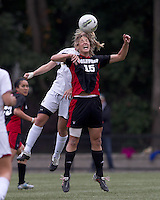 NC State midfielder Kristina Argiroff (15) and Boston College forward/midfielder Kate McCarthy (21) battle for head ball. Boston College defeated North Carolina State,1-0, on Newton Campus Field, on October 23, 2011.