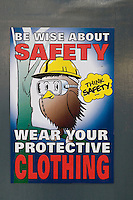 Safety poster in the Engineering Department at Kingston College..