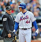 11 April 2012: Umpire Larry Vanover explains an outside called strike to Jason Bay during action against the Washington Nationals at Citi Field in Flushing, New York. The Nationals shut out the Mets 4-0 to take the rubber match of their 3-game series. Mandatory Credit: Ed Wolfstein Photo
