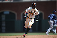 SAN FRANCISCO, CA - APRIL 27:  Denard Span #2 of the San Francisco Giants runs the bases against the San Diego Padres during the game at AT&T Park on Wednesday, April 27, 2016 in San Francisco, California. Photo by Brad Mangin
