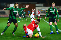 Fleetwood Town's Ched Evans competes with Coventry City's Jordan Willis<br /> <br /> Photographer Richard Martin-Roberts/CameraSport<br /> <br /> The EFL Sky Bet League One - Fleetwood Town v Coventry City - Tuesday 27th November 2018 - Highbury Stadium - Fleetwood<br /> <br /> World Copyright &not;&copy; 2018 CameraSport. All rights reserved. 43 Linden Ave. Countesthorpe. Leicester. England. LE8 5PG - Tel: +44 (0) 116 277 4147 - admin@camerasport.com - www.camerasport.com