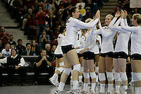 15 December 2007: Stanford Cardinal Stephanie Browne (15) during Stanford's 25-30, 26-30, 30-23, 30-19, 8-15 loss against the Penn State Nittany Lions in the 2007 NCAA Division I Women's Volleyball Final Four championship match at ARCO Arena in Sacramento, CA.
