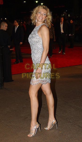 NELL McANDREW .The Last Samurai Premiere, Odeon, Leicester Square.6th January 2004 .sleeveless, silver, blueish dress, full length, full-length.www.capitalpictures.com.sales@capitalpictures.com.Supplied By Capital PIctures
