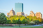 Sunrise view of the Back Bay skyline from  Boston Common, Boston, Massachusetts, USA