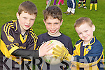 Footballers Seamus Gallagher, Fionn Oliver and Callum Lyodd at the Dr Crokes GAA Easter football skills camp on Thursday