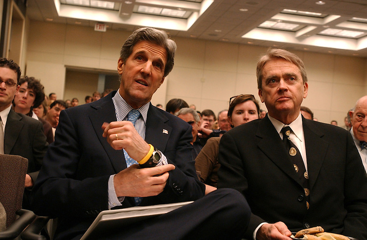 Sen. John Kerry, D-Mass., prepares to give a speech at the Brookings Institution.