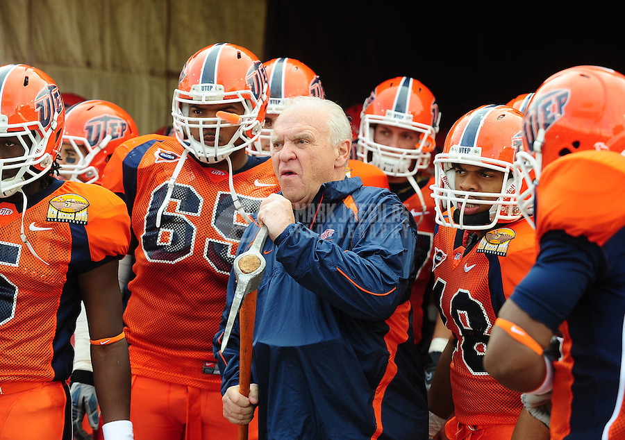 Dec. 18, 2010; Albuquerque, NM, USA; UTEP Miners head coach Mike Price against the BYU Cougars in the 2010 New Mexico Bowl at University Stadium. BYU defeated UTEP 52-24. Mandatory Credit: Mark J. Rebilas-