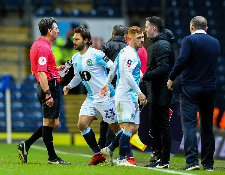 Blackburn Rovers' Harrison Reed is replaced by Bradley Dack<br /> <br /> Photographer Alex Dodd/CameraSport<br /> <br /> Emirates FA Cup Third Round Replay - Blackburn Rovers v Newcastle United - Tuesday 15th January 2019 - Ewood Park - Blackburn<br />  <br /> World Copyright &copy; 2019 CameraSport. All rights reserved. 43 Linden Ave. Countesthorpe. Leicester. England. LE8 5PG - Tel: +44 (0) 116 277 4147 - admin@camerasport.com - www.camerasport.com