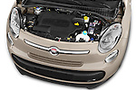 Car stock 2014 Fiat 500L Lounge 5 Door MPV engine high angle detail view