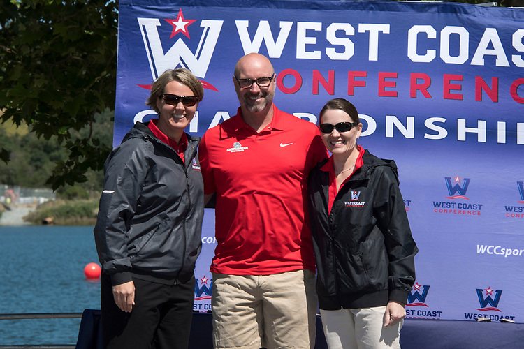 May 13, 2017; Gold River, CA, USA; WCC commissioner Lynn Holzman, WCC coach of the year Gonzaga Bulldogs Green Putyrae, Gonzaga Bulldogs Peggy Sue Loroz during the WCC Rowing Championships at Lake Natoma.
