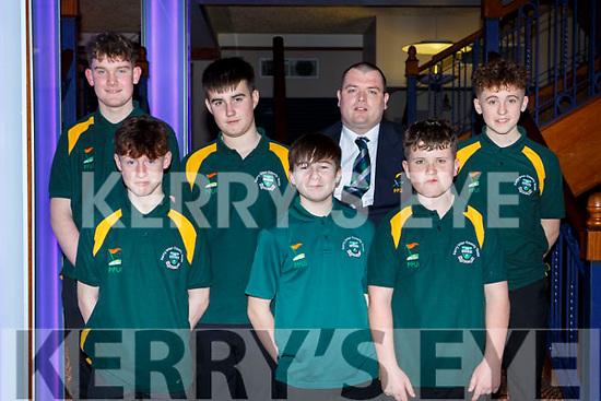 The Kerry u16 Pitch and Putt team that won the Munster Championships at the Kerry Sports Stars awards in the INEC on Friday night front row l-r: Jack MCCarthy, Cillian Courtney, Robbie harnett. Back row: Adam Kelly, Darragh O'Callaghan, Jason O'Connor, Erin Moloney