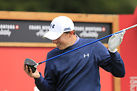 Matthew Fitzpatrick (ENG) examines his driver on the 14th tee during Sunday's Final Round of the 2017 Omega European Masters held at Golf Club Crans-Sur-Sierre, Crans Montana, Switzerland. 10th September 2017.<br /> Picture: Eoin Clarke | Golffile<br /> <br /> <br /> All photos usage must carry mandatory copyright credit (&copy; Golffile | Eoin Clarke)