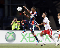 New England Revolution substitute forward Jerry Bengtson (27) on the attack. In a Major League Soccer (MLS) match, New England Revolution defeated New York Red Bulls, 2-0, at Gillette Stadium on July 8, 2012.