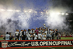 08 August 2012: Kansas City players, coaches, and staff celebrate as captain Jimmy Nielsen (DEN) lifts the championship trophy. Sporting Kansas City won the championship over Seattle Sounders FC 3-2 on penalties after the game ended in a 1-1 tie at Livestrong Sporting Park in Kansas City, Kansas in the 2012 Lamar Hunt U.S. Open Cup Final.