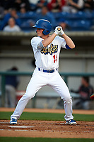 Rancho Cucamonga Quakes shortstop Gavin Lux (14) at bat during a California League game against the Lake Elsinore Storm at LoanMart Field on May 18, 2018 in Rancho Cucamonga, California. Lake Elsinore defeated Rancho Cucamonga 5-4. (Zachary Lucy/Four Seam Images)