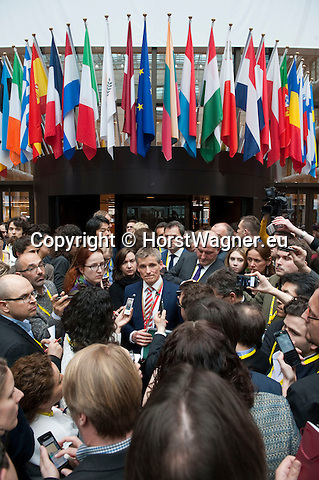 Belgium, Brussels - March 18, 2016 -- Second day of the European Council, EU-Summit with Heads of State or Government: a get-together of all 28 with Turkey is about to be finished and Preben Aamann, spokesperson of European Council President Donald Tusk, delivers first-hand information to the media -- Photo © HorstWagner.eu