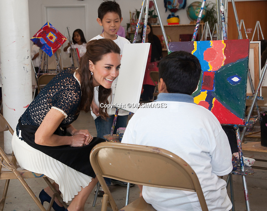 """PRINCE WILLIAM & KATE - CALIFORNIA, USA.The Duke and Duchess visit The Inner City Arts Youth Project, in Los Angeles, and take part in painting, and clay modeling with the students, Los Angeles_10/07/2011.Mandatory Credit Photo: ©DIASIMAGES. .**ALL FEES PAYABLE TO: """"NEWSPIX INTERNATIONAL""""**.No Uk Usage until 7/8/2011.IMMEDIATE CONFIRMATION OF USAGE REQUIRED:.DiasImages, 31a Chinnery Hill, Bishop's Stortford, ENGLAND CM23 3PS.Tel:+441279 324672  ; Fax: +441279656877.Mobile:  07775681153.e-mail: info@newspixinternational.co.uk"""