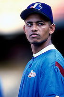 Orlando Cabrera of the Montreal Expos participates in a Major League Baseball game at Dodger Stadium during the 1998 season in Los Angeles, California. (Larry Goren/Four Seam Images)