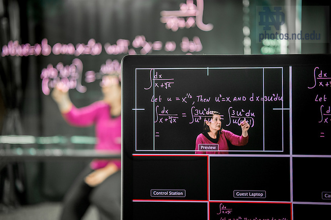 February 15, 2017; Associate Teaching Professor Anne Pilkington works at the light board in Jordan Hall of Science. (Photo by Matt Cashore/University of Notre Dame)