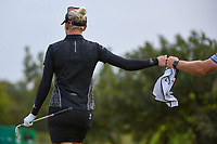 Madelene Sagstrom (SWE) fist bumps her caddie after chipping in from off the green during the round 2 of the Volunteers of America Texas Classic, the Old American Golf Club, The Colony, Texas, USA. 10/4/2019.<br /> Picture: Golffile | Ken Murray<br /> <br /> <br /> All photo usage must carry mandatory copyright credit (© Golffile | Ken Murray)