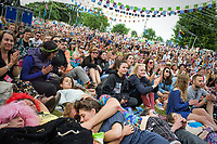 Festival goers enjoy &quot;Letters Live&quot; at the Wilderness Festival in Oxfordshire, August 6, 2017. Letters Live pleased the audience with a stellar cast of performers reading some of the greatest letters to have ever been written. <br /> CAP/CAM<br /> &copy;Andre Camara/Capital Pictures