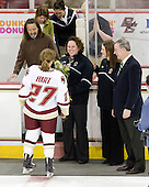 Laura Hart (BC - 27), Brett Hart, Julie Hart, Courtney Kennedy (BC - Assistant Coach), Katie King (BC - Head Coach), Tom Peters - The Boston College Eagles and the visiting University of New Hampshire Wildcats played to a scoreless tie in BC's senior game on Saturday, February 19, 2011, at Conte Forum in Chestnut Hill, Massachusetts.