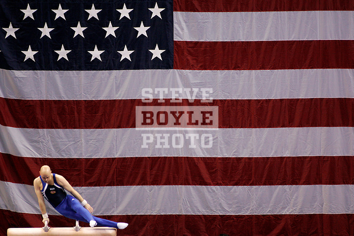 Brett McClure (USA) performs on pommel horse during the Tyson American Cup Preliminary Competition on March 3, 2006 at the Liacouras Center on the campus of Temple University in Philadelphia, Pennsylvania.