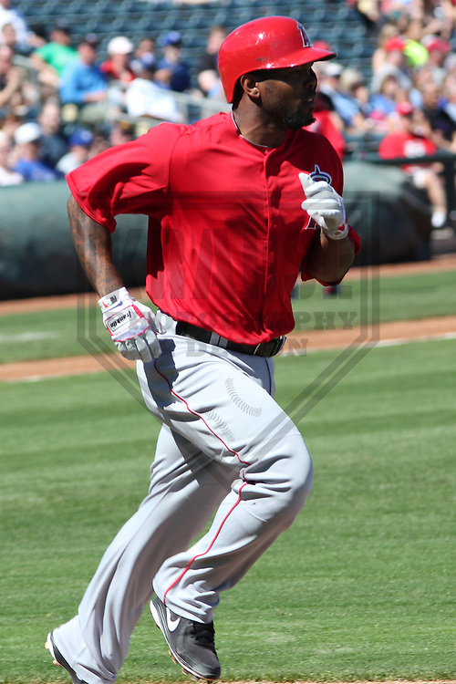 SURPRISE - March 2013: Howard Kendrick (47) of the Los Angeles Angels of Anaheim during a Spring Training game against the Kansas City Royals on March 10, 2013 at Surprise Stadium in Surprise, Arizona. (Photo by Brad Krause).  ..