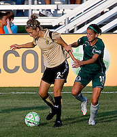 FC Gold Pride midfielder Kimberly Yokers (2) and Saint Louis Athletica forward Angie Woznuk (11) during a WPS match at Anheuser-Busch Soccer Park, in St. Louis, MO, July 26, 2009.  The match ended in a 1-1 tie.