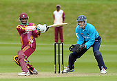 IIC T20 World Cup warm up match - Scotland V West Indies, at the John Paul Getty Oval, in the grounds of Wormsley Estate, Buckinghamshire - Windies batsman Shivnarine Chanderpaul gets hit by the ball, with Scotland keeper Colin Smith waiting to pounce - Picture by Donald MacLeod - 28 May 2009