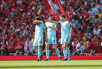Burnley's Ashley Westwood, Kevin Long and James Tarkowski in discussion after Arsenal's first goal<br /> <br /> Photographer Rob Newell/CameraSport<br /> <br /> The Premier League - Arsenal v Burnley - Sunday 6th May 2018 - The Emirates - London<br /> <br /> World Copyright &copy; 2018 CameraSport. All rights reserved. 43 Linden Ave. Countesthorpe. Leicester. England. LE8 5PG - Tel: +44 (0) 116 277 4147 - admin@camerasport.com - www.camerasport.com