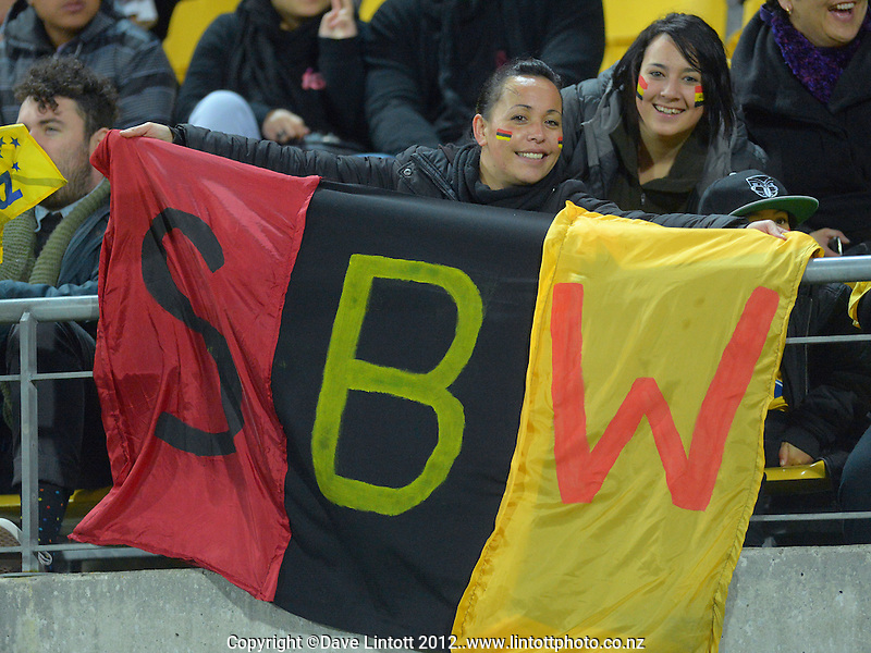 Sonny Bill Williams fans during the Super 15 rugby match between the Hurricanes and Chiefs at Westpac Stadium, Wellington, New Zealand on Friday, 13 July 2012. Photo: Dave Lintott / lintottphoto.co.nz