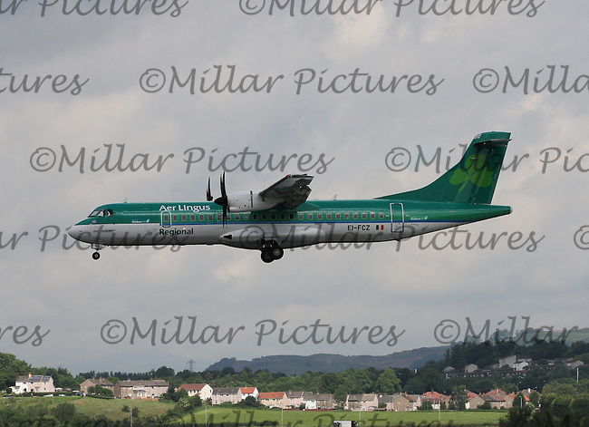 An Aer Lingus ATR 72-600 Registration EI-FCZ landing from Dublin International Airport at Glasgow Airport on 3.7.15.