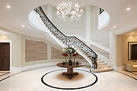 BNPS.co.uk (01202 558833)<br /> Pic: Savills/BNPS<br /> <br /> Designed to impress...the marble atrium.<br /> <br /> Fairway to Heaven - Hills End has been described as 'a fabulous new masterpiece'. <br /> <br /> This breathtaking brand new mansion only a pitching wedge from one the most exclusive golf clubs in the country has emerged for sale for a whopping £22m.<br /> <br /> Hills End nestles within the prestigious Sunningdale estate in Surrey, home of the £4,000 a year Sunningdale Golf Club which dates back to 1900 and has hosted the Women's British Open and the Senior Open Championship.<br /> <br /> The newly-built property sits on a 1.75 acre plot  boasting six bedrooms, eight reception areas, a swimming pool complex with spa, sauna and yoga rooms along with a large cinema. and walk in wardrobes.<br /> <br /> The incredible Palladian style home is on the market with estate agents Savills who describe it as 'a fabulous new masterpiece'...that comes with a whopping £22 million price tag.