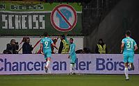 celebrate the goal, Torjubel zum 0:2 Joao Victor Santos Sa (VfL Wolfsburg) - 23.11.2019: Eintracht Frankfurt vs. VfL Wolfsburg, Commerzbank Arena, 12. Spieltag<br /> DISCLAIMER: DFL regulations prohibit any use of photographs as image sequences and/or quasi-video.