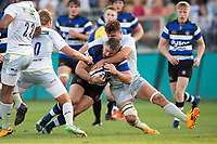 Nathan Charles of Bath United takes on the Saracens Storm defence. Aviva A-League match, between Bath United and Saracens Storm on September 1, 2017 at the Recreation Ground in Bath, England. Photo by: Patrick Khachfe / Onside Images