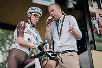 Romain Bardet (FRA/AG2R-La Mondiale) interviewed on the sign-on podium before the start of the stage (he would later that day win...) <br /> <br /> 104th Tour de France 2017<br /> Stage 12 - Pau &rsaquo; Peyragudes (214km)