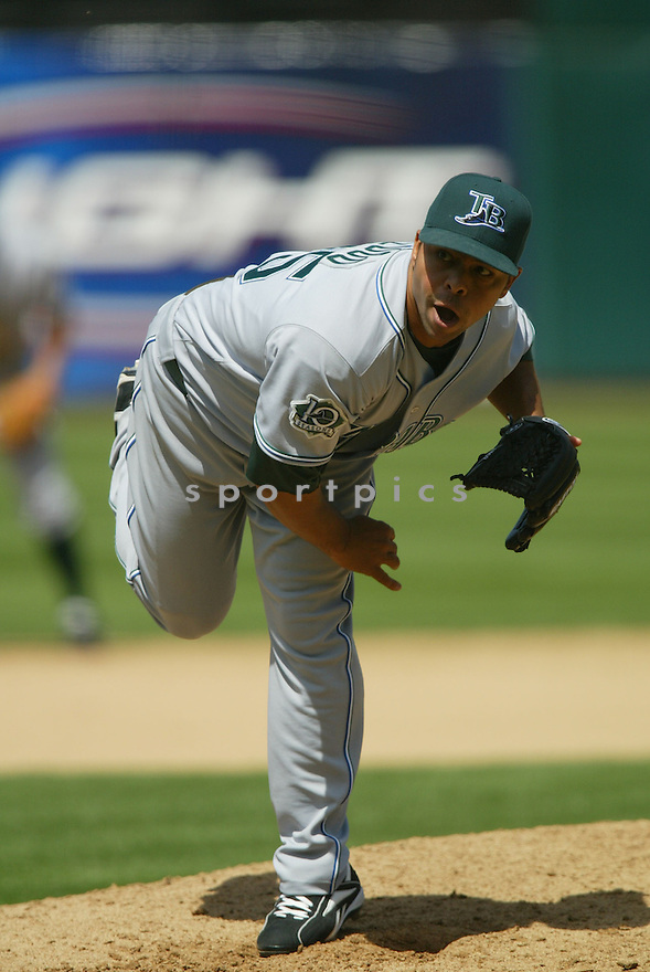 RUDDY LUGO, of the Tampa Bay Devil Rays , in action during the  Devil Rays game against the Oakland A's  on April 28, 2007 in Oakland, California..A's win 12-5...Rob Holt/ SportPics..