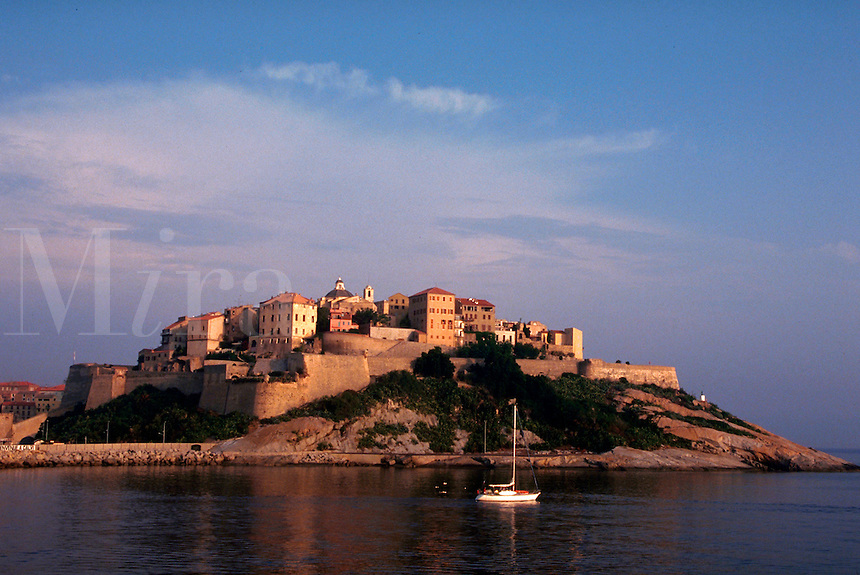 The Citadel Fortress on hilltop, from Mediterranean Sea, Corsica, France