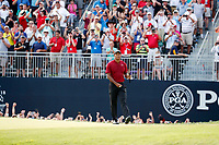 Tiger Woods (USA) walks off the green after making a birdie putt on the 18th hole during the final round of the 100th PGA Championship at Bellerive Country Club, St. Louis, Missouri, USA. 8/12/2018.<br /> Picture: Golffile.ie | Brian Spurlock<br /> <br /> All photo usage must carry mandatory copyright credit (&copy; Golffile | Brian Spurlock)
