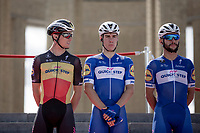Quick Step floors Team with Yves Lampaert (BEL), Fabio Jakobsen (NED) and Fernando Gaviria (COL). <br /> <br /> <br /> 1st Great War Remembrance Race 2018 (UCI Europe Tour Cat. 1.1) <br /> Nieuwpoort &gt; Ieper (BE) 192.7 km
