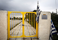 Pictured: The lock installed by local protesters on the gate of Profitis Volvis primary school, Salonica, Greece. Monday 10 October 2016<br /> Re: Locals protesting against children of refugees attending school, have locked the gates of the primary school in Profitis Volvis on the outskirts of Thessaloniki in northern Greece. Police were present and the children were escorted through another gate.